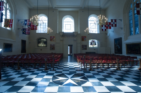 Flags around the chapel are testament to the international nature of the modern order.
